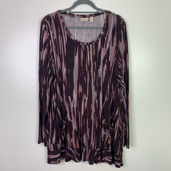 LOGO Lori Goldstein Purple Print Long Sleeve Tunic